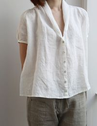 attractivedesigns enjoy cheap price limited guantity Love linen....another great white blouse. Never have enough ...