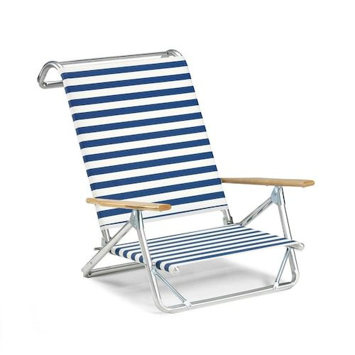 Original Mini Sun Folding Aluminum Beach Chair By Telescope Casual Blue White Stripe Bbqguys Folding Beach Chair Beach Chairs Aluminum Beach Chairs
