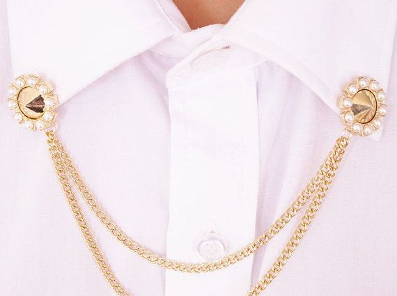 Punk style pearl collar chain collar,Collar Pins,collar clips,collar tips,Collar brooch,double pin:S125792