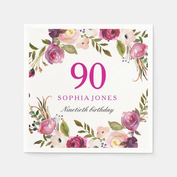 Vibrant Pink Botanical Floral 90th BirthdayParty Napkins