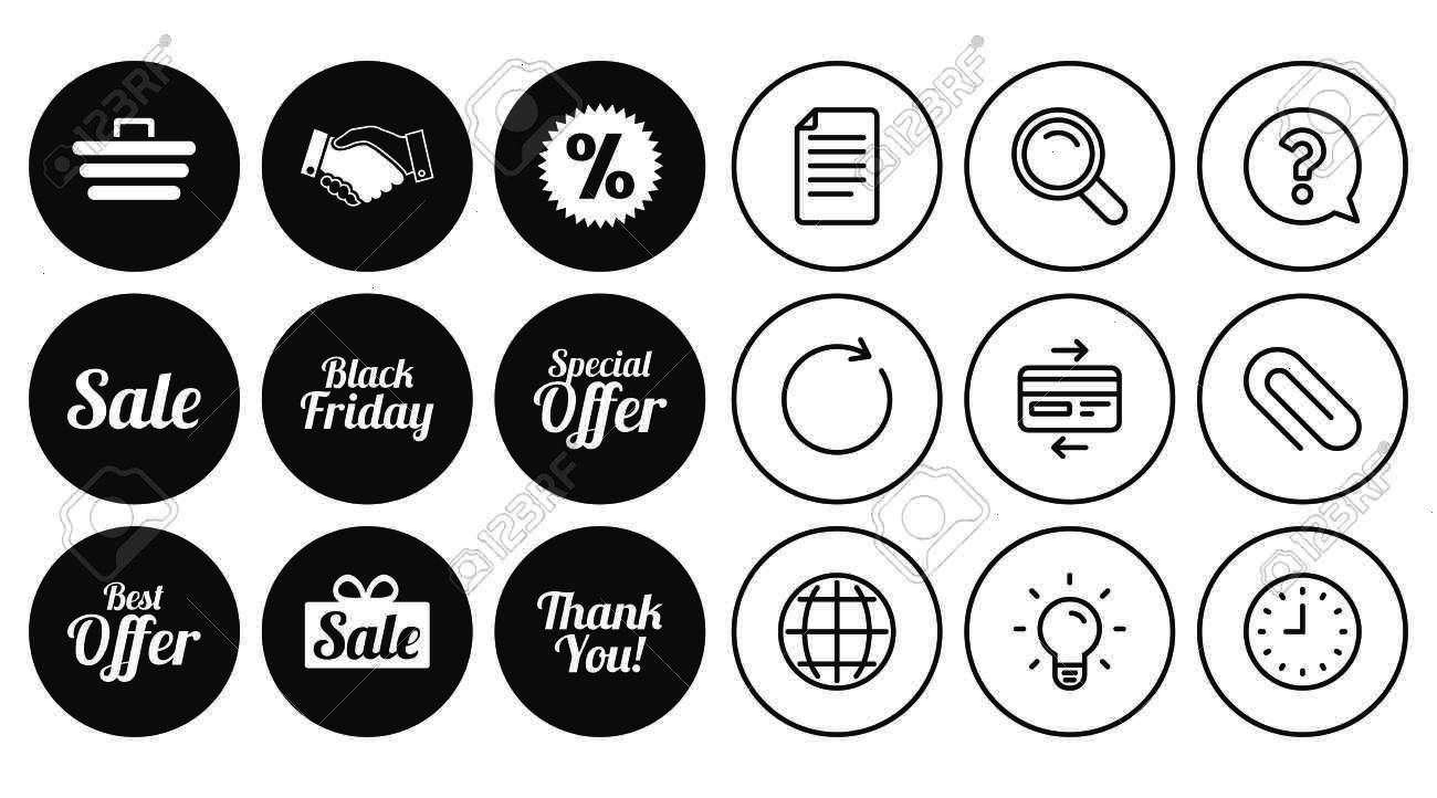 discounts icon Shopping handshake and black friday signs Special offer symbols Document Globe and Clock line signs Lamp Magnifier and Paper clip icons Question Credit car...