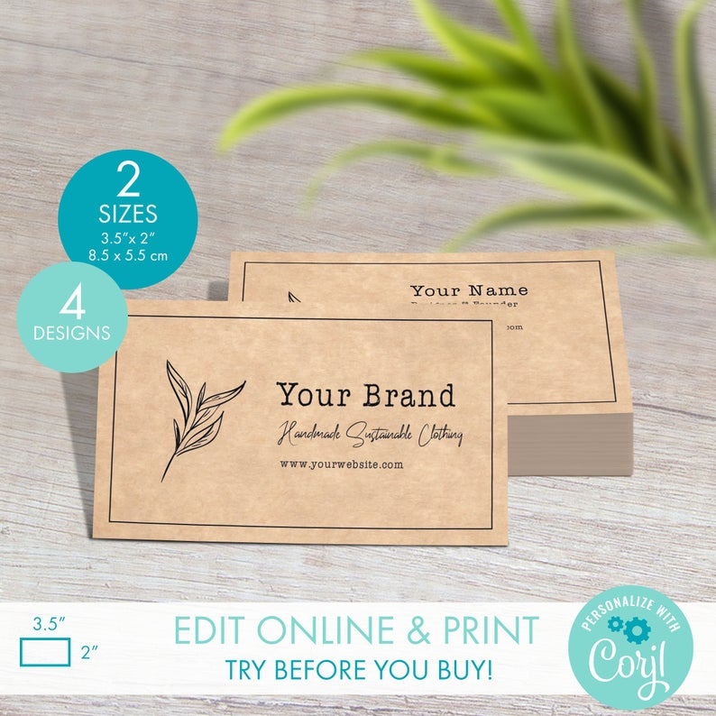 Diy Printable Business Card Template 4 Designs Editable Rustic Kraft Business Card Design Custom Logo Business Card Digital Templates Printable Business Cards Kraft Business Cards Business Card Template