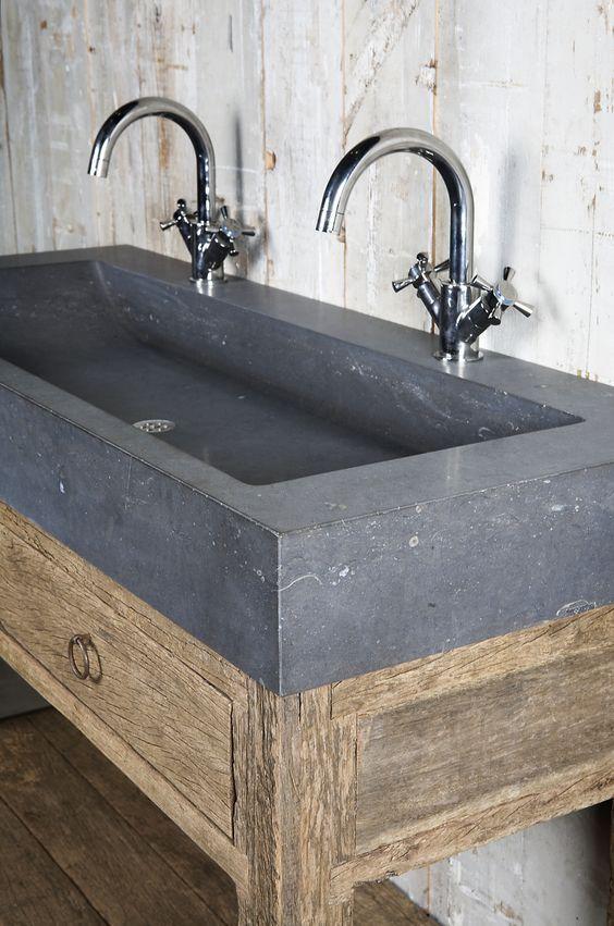 Badkamermeubel oud hout oude bouwmaterialen bij jan van for Kappers wastafel