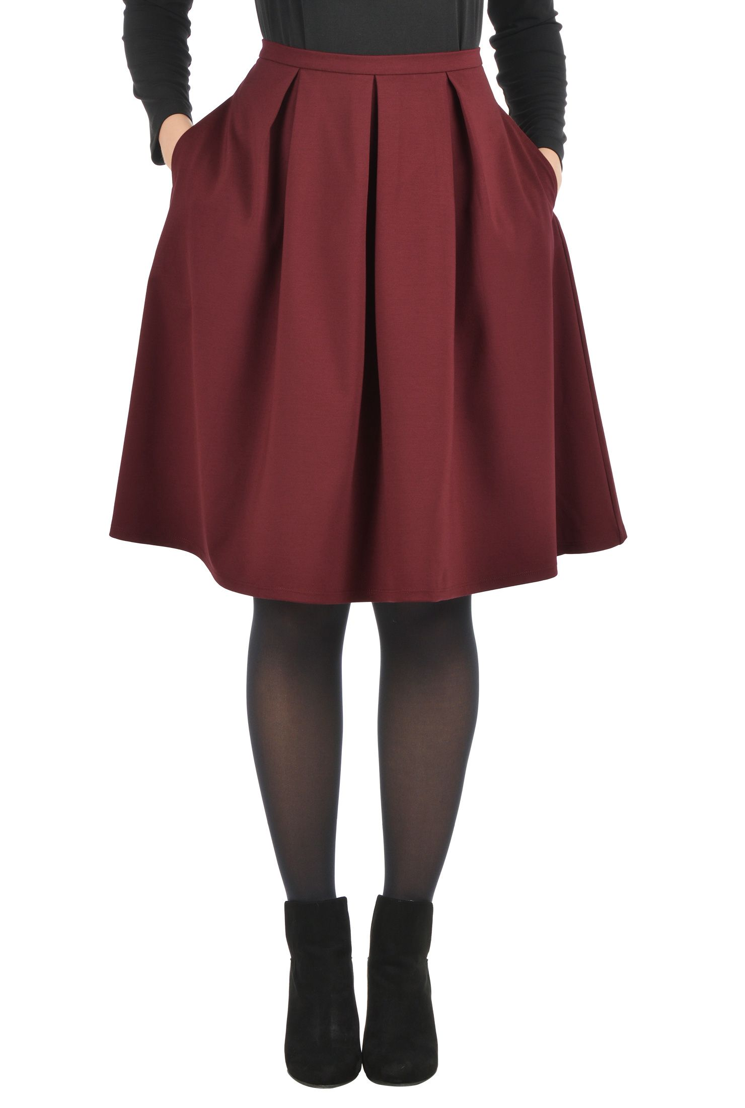 9489dfa85b A vibrant hue energizes our flattering ponte-knit skirt topped with a  narrow waistband and flared with box pleats.