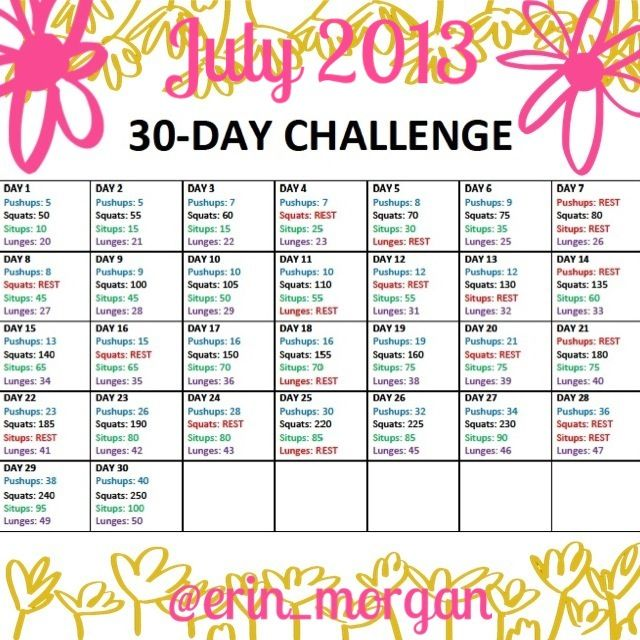 Erin Morgan: July 30 Day Challenge | Dieting & Exercise ...