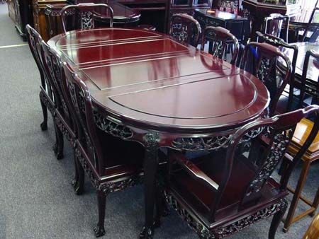 Oval Rosewood Dining Set With Dragon Claw Feet | Oriental Rosewood Rosewood  Oval Dining Set |