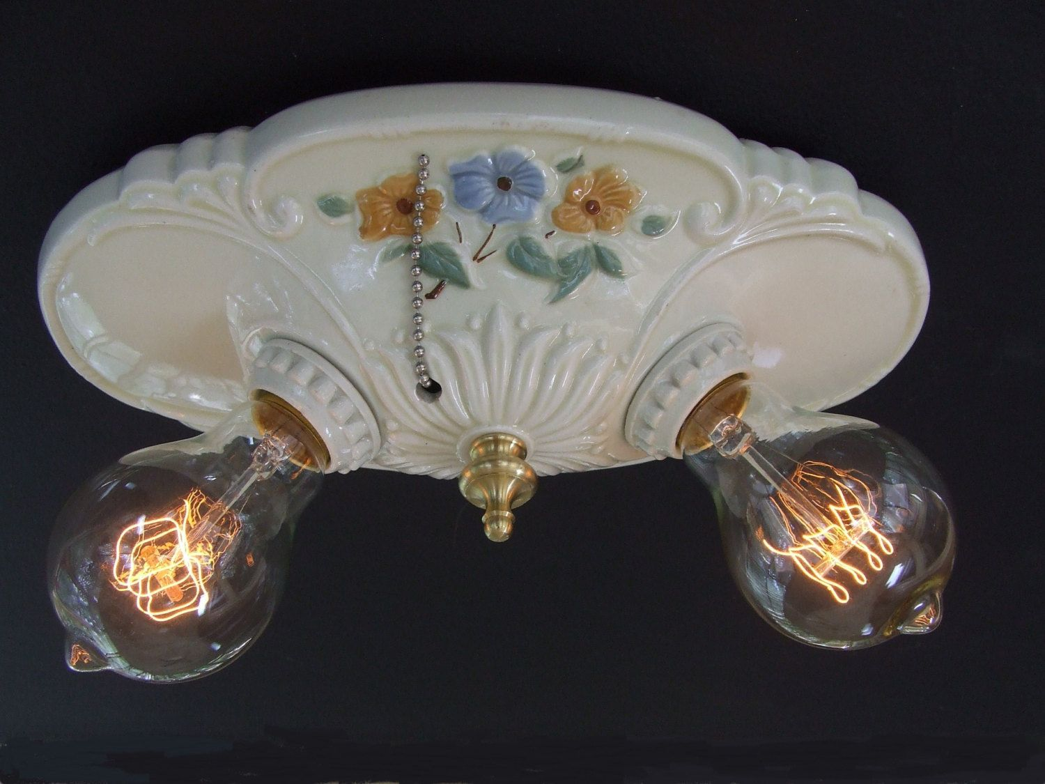 Vintage Porcelain Flush Mount Ceiling Light Fixture Rewired, Ceramic Pull  Chain Bathroom Light Fixture