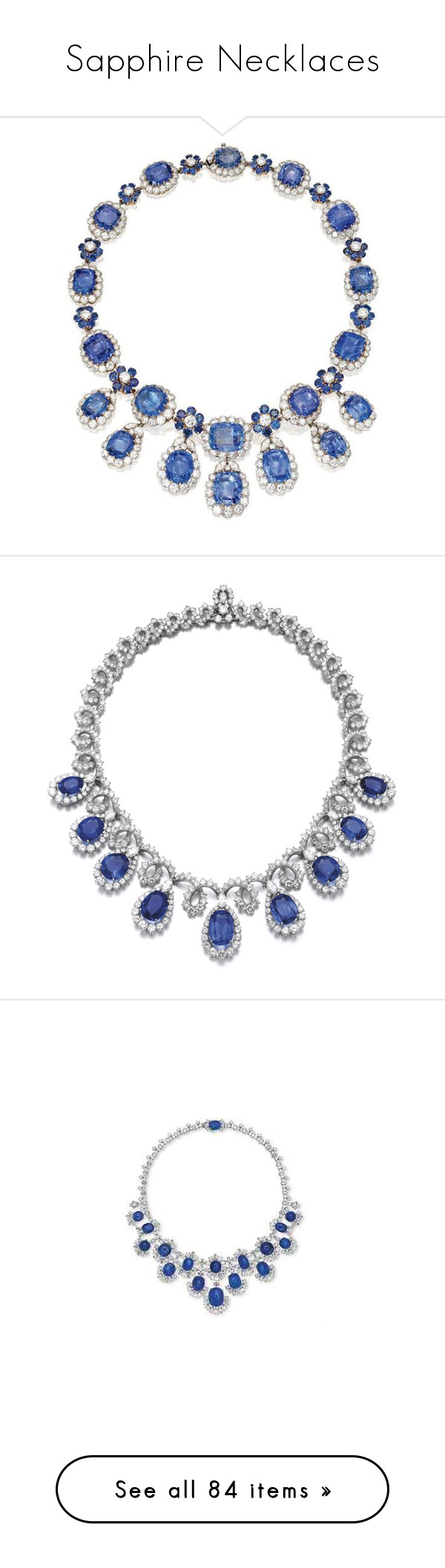 """""""Sapphire Necklaces"""" by sakuragirl ❤ liked on Polyvore featuring jewelry, necklaces, van cleef arpels necklace, van cleef arpels jewelry, wine necklace, wine jewelry, sapphire jewellery, diamond jewelry, bulgari and sapphire jewelry"""