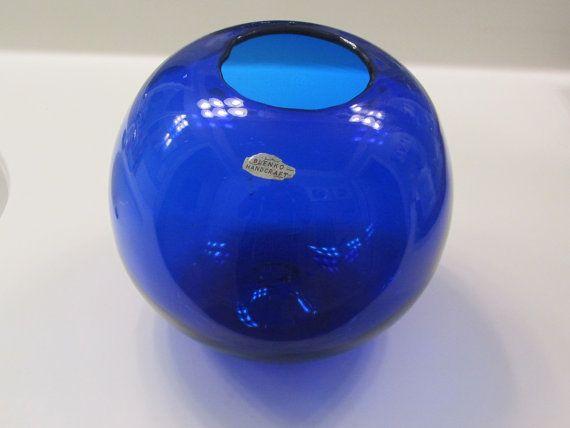 Blenko Bright Blue Round Ball Shaped Glass Vase - Blenko Glass, blue glass vase, blue vase, blown glass