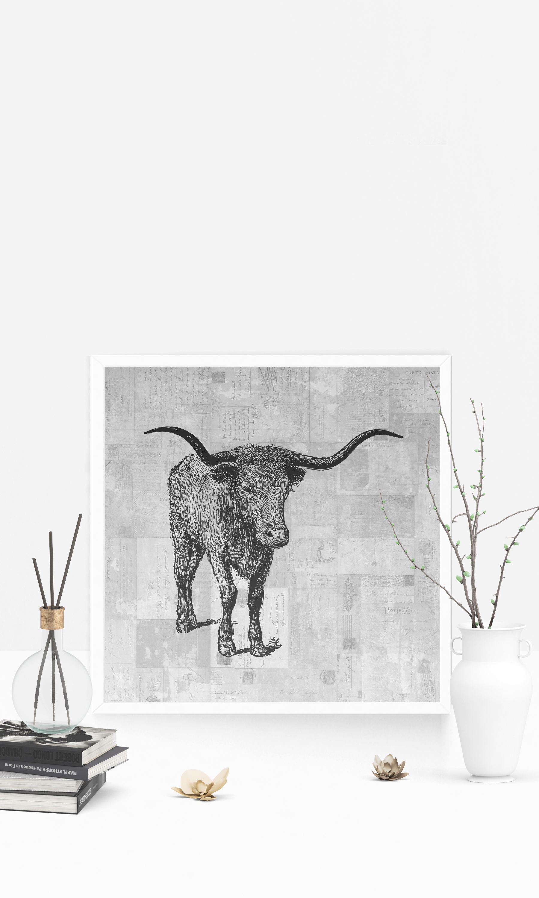 Western steed bull with horns wall art print for home decoration