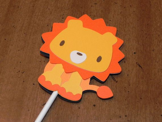 Lion Cupcake Toppers - Set of 12 - Lion Birthday Party