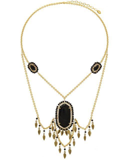Know-My-Statement Quartz Necklace (Black) #necklace #necklaces #statementnecklace #statementnecklaces #jewelry #gold #goldplated