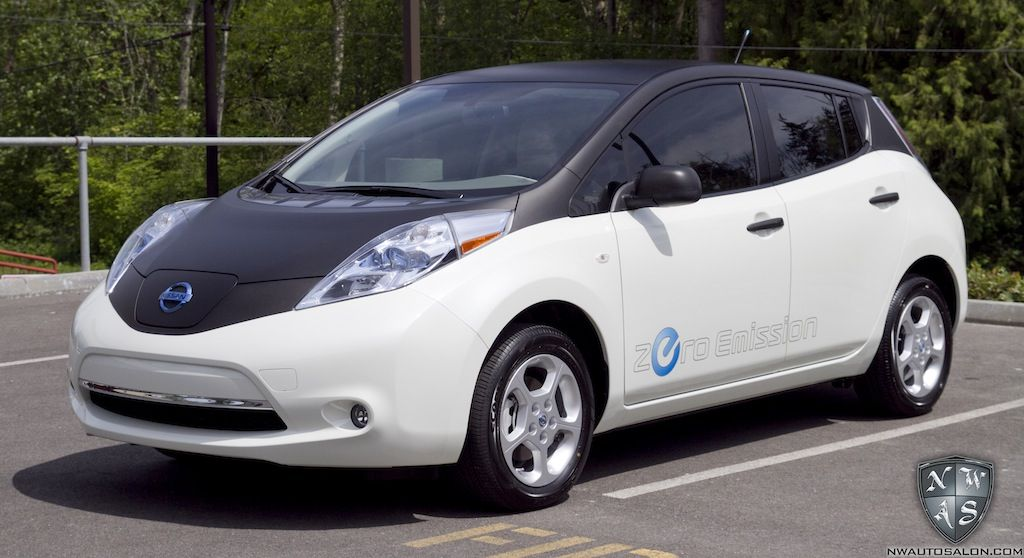 This 100 Electric Nissan Leaf Gets Matte Black Vinyl Wrap And