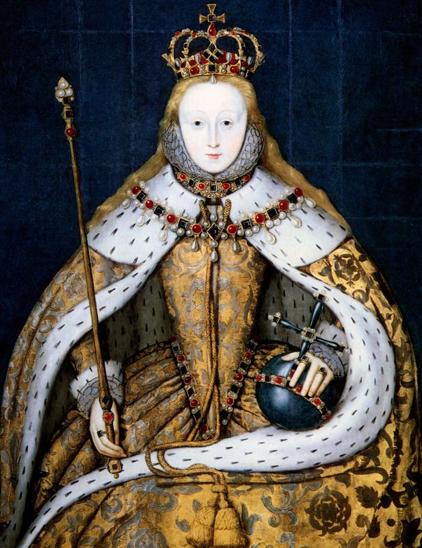 Portrait of a Queen: Elizabeth I's Coronation at Westminster Abbey - Biography.com. In her coronation robes, January 15, 1559