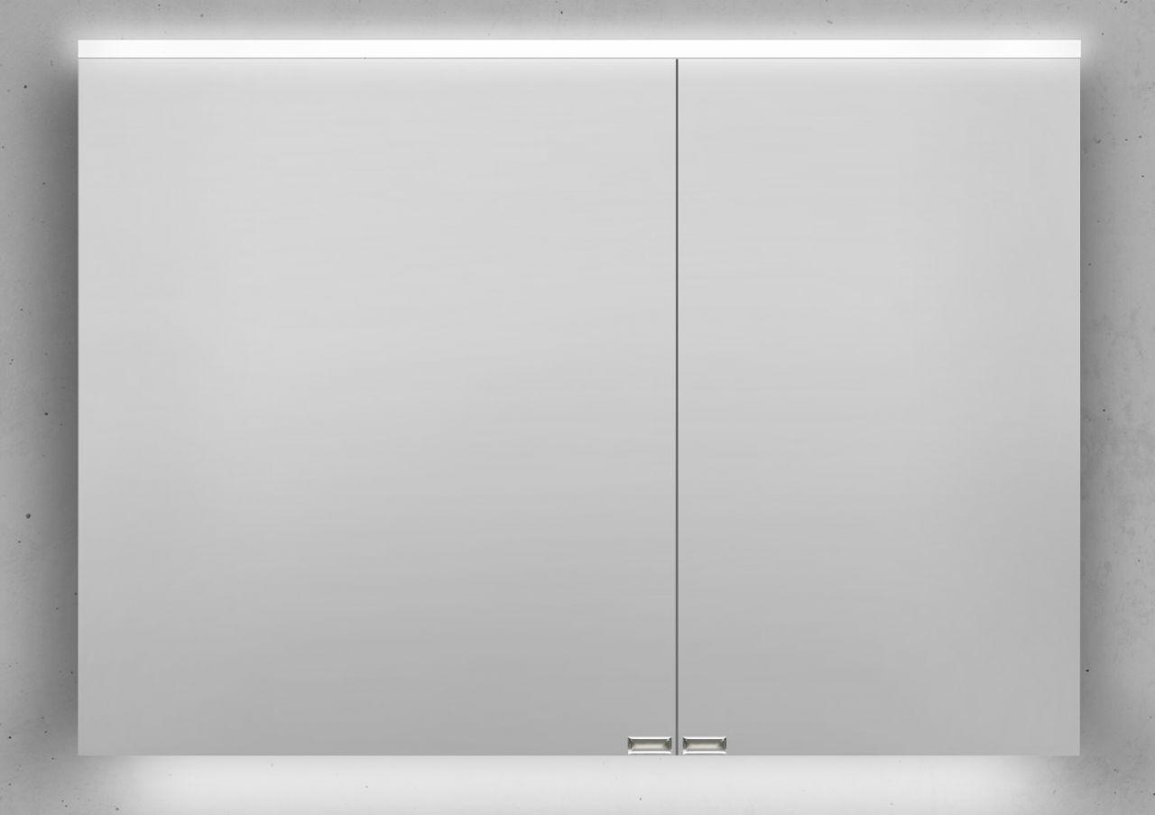 Spiegelschrank 100 Cm Integrierte Led Beleuchtung Doppelt Verspiegelt Spiegelschrank Led Beleuchtung Led Unterbauleuchte