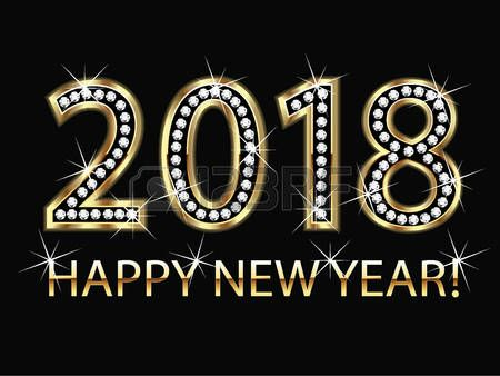 happy new year 2018 gold background vector