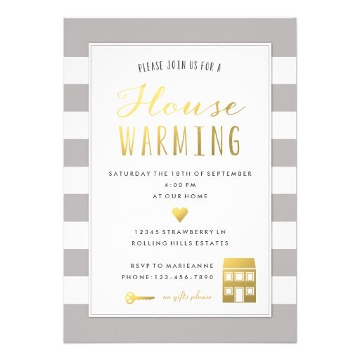 Grey Stripes  Gold House Warming Party Invitation  Grey Stripes