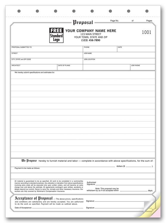 Free Printable Proposal Sheet  Proposal  Acceptance  DeanS