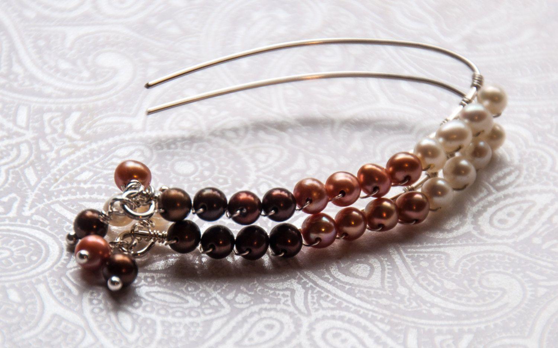 Genuine Pearl Earrings, Sterling Silver, Chandelier, Mocha, Caramel, Ivory,  Wire