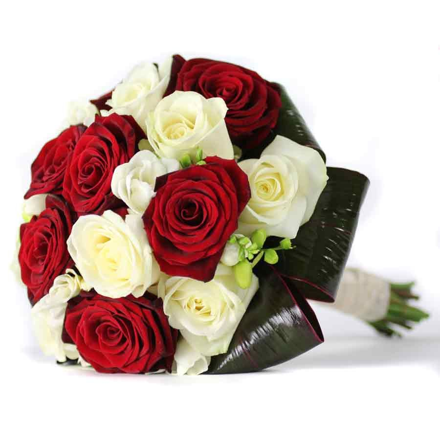Bridal Bouquets Anastasia Freesiawhite Red Roses Flowers