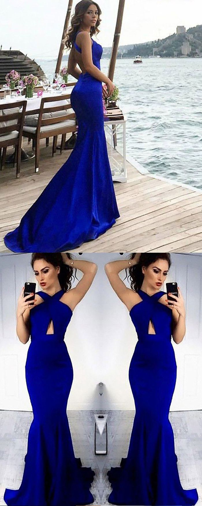 Crisscross blue cutout mermaid long prom dress pm long prom