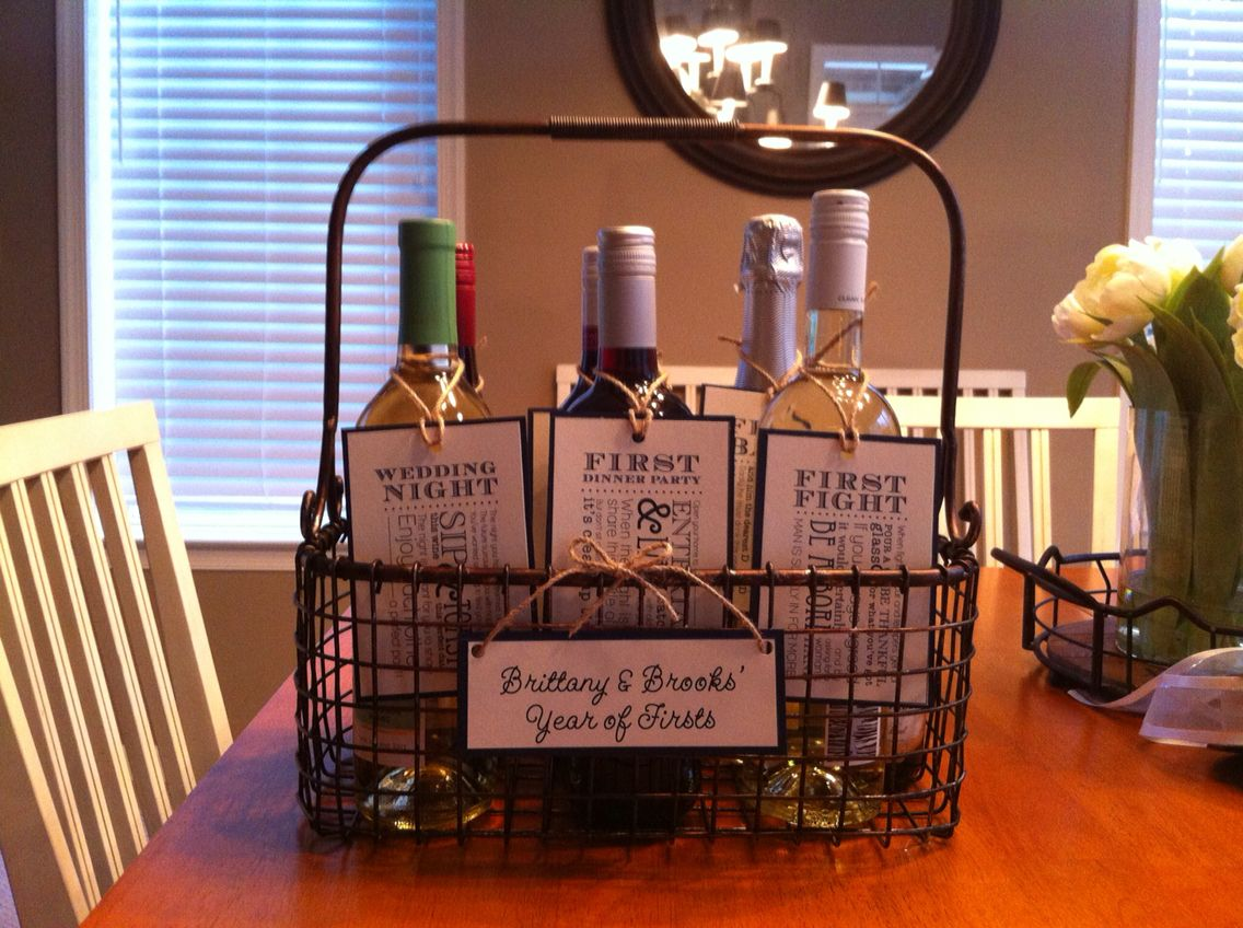 wine basket year of firsts given to my sister in law along w wine glasses for her bridal shower