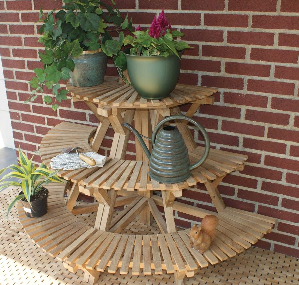 Jewels of Java Teak Plant Stand Corner Unit - Jewels Of Java Teak Plant Stand Corner Unit Patio Party