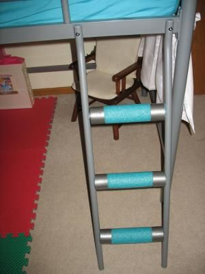 Padding Along Metal Bunk Bed Rungs Swimming Noodles And Duct Tape