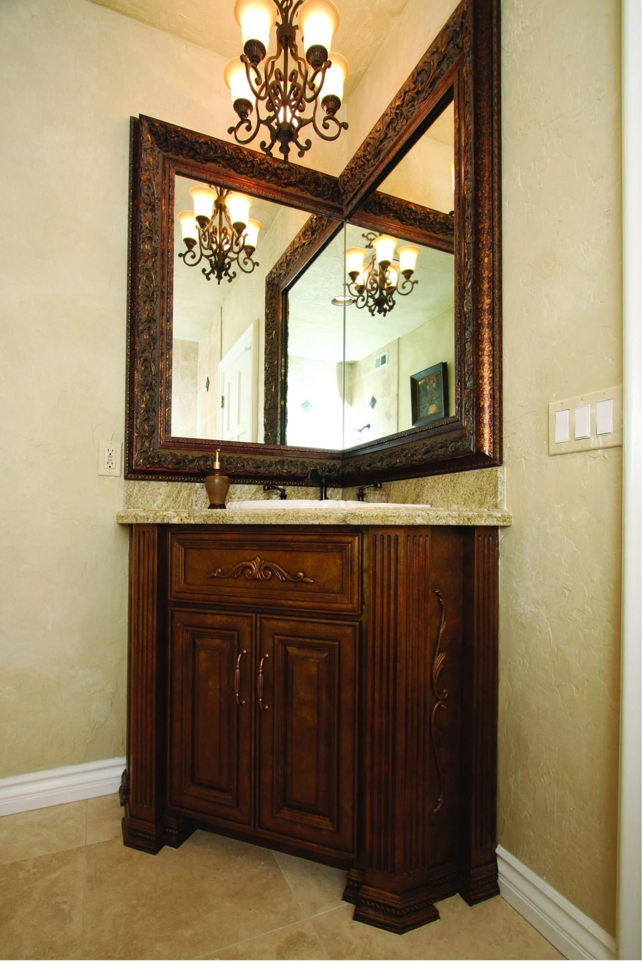 Snazzy Corner Mirror For Bathroom Decoration Ideas Magnificent Victorian Designs With Brown Wooden Finished Single Vanity Carving