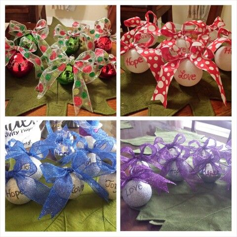 Made these ornaments for a fundraiser for Relay for Life ...