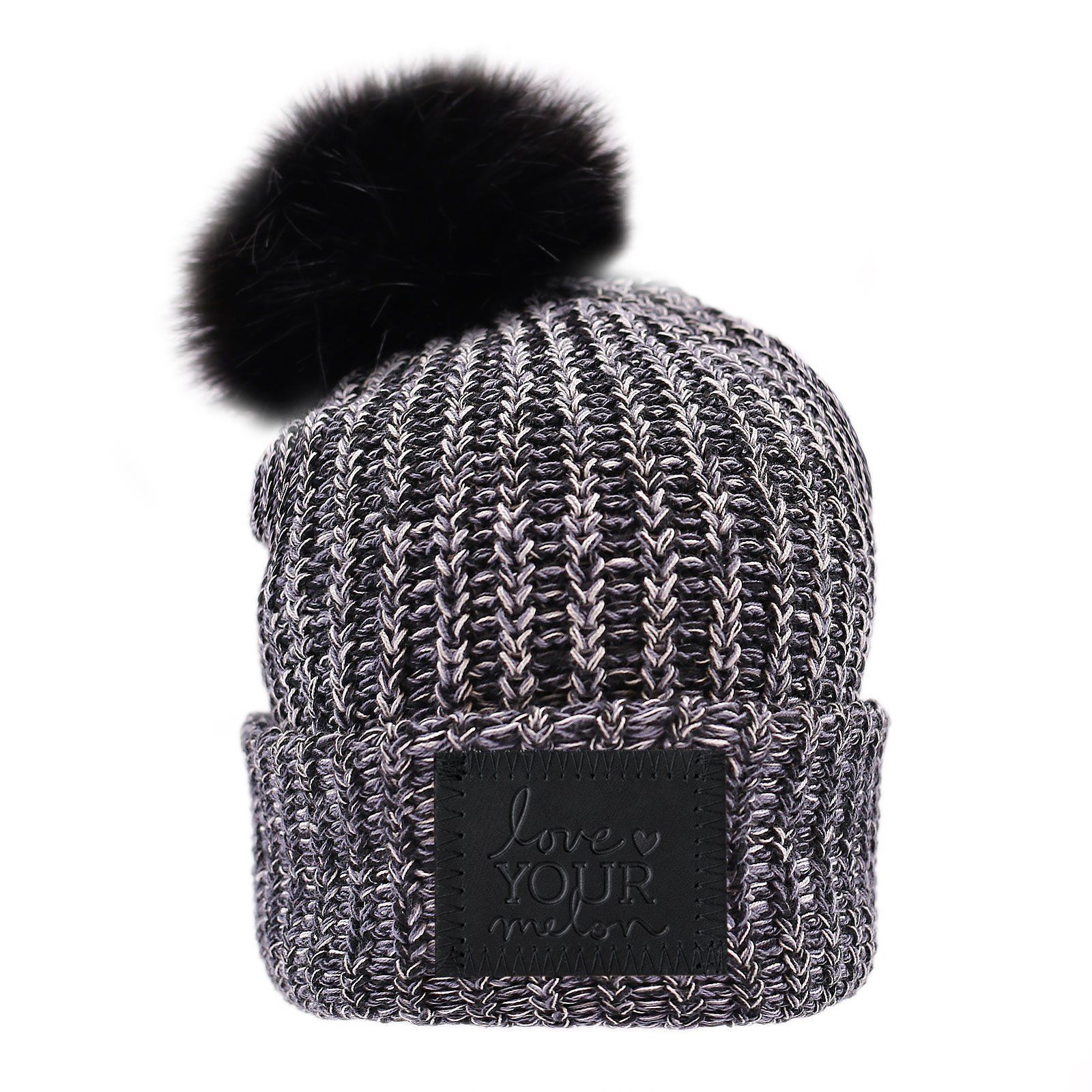 742d699bd1e Love Your Melon Moon Pom Beanie (Black Leather Patch)