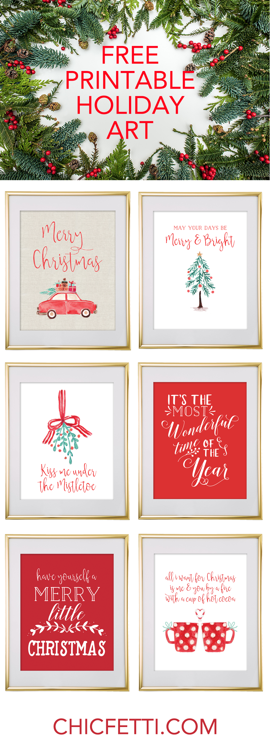 Christmas free printable wall art pinterest christmas wall art free printable holiday christmas wall art from chicfetti solutioingenieria Choice Image