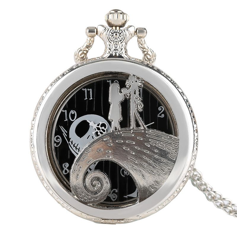 The nightmare before christmas silver quarzt pocket watch pendant the nightmare before christmas silver quarzt pocket watch pendant jack skellington movie necklace gift for children aloadofball Image collections