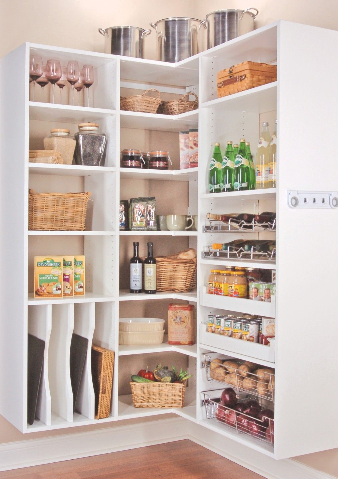 trendy corner pantry cabinet furniture ideas within floating style white painted wood open shelves for inspiring