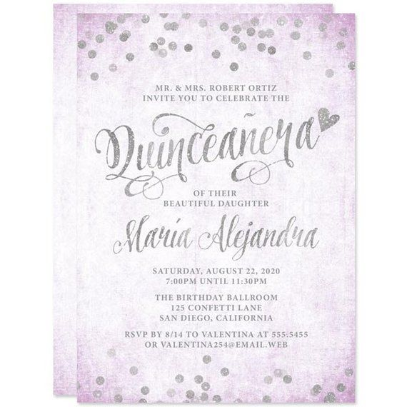 photograph about Printable Quinceanera Invitations named Lavender Silver Confetti Quinceanera Invites, Revealed