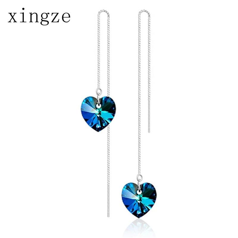 Find More Drop Earrings Information about High quality silver plated jewelry long Heart Of Ocean blue crystal dangle earrings for women fine jewelry wholesale,High Quality earring shop,China jewelry gift boxes for earrings Suppliers, Cheap jewelry earings from Xingze Jewelry store on Aliexpress.com