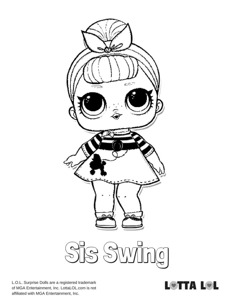 Sis Swing Coloring Page Lotta Lol With Images Book Clip Art