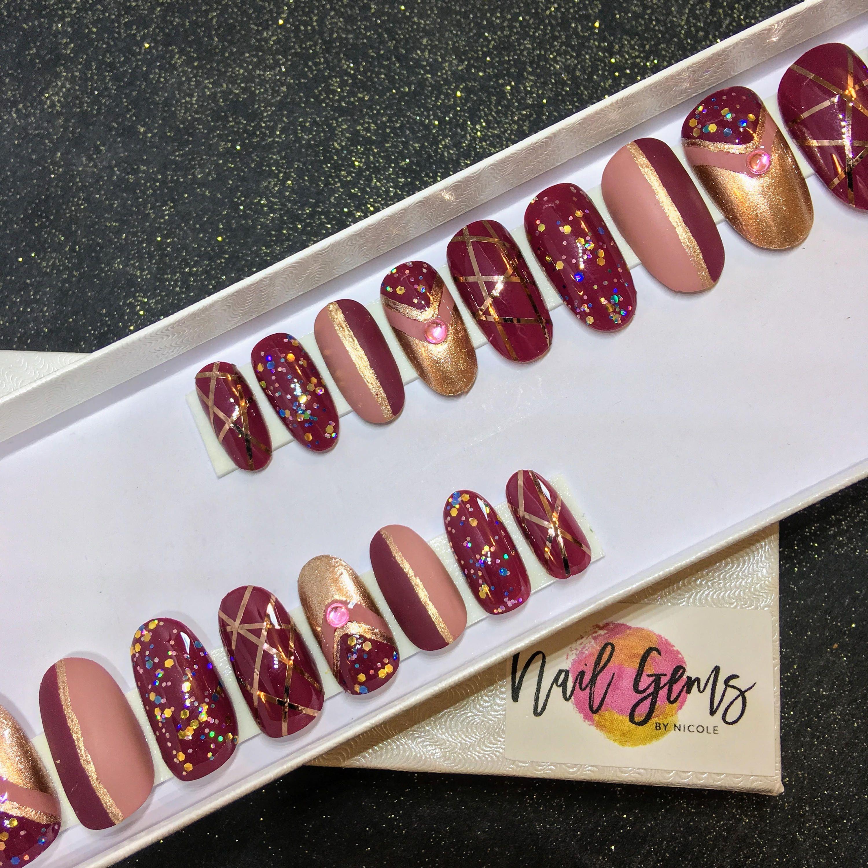 Elegance Unleashed press-on nails, false nails, gel nails, fake ...