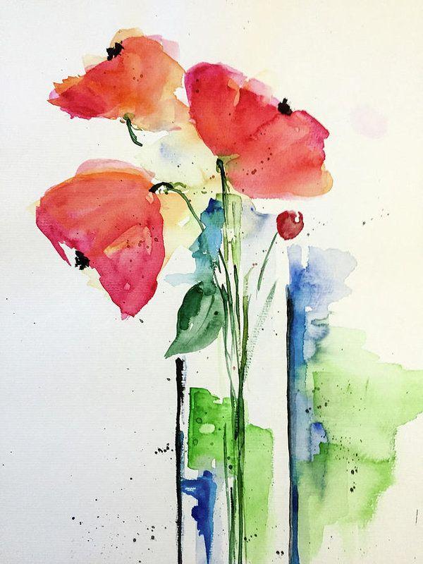 Flower In The Vase Art Print Watercolor Watercolor Paintings Watercolor Art Painting
