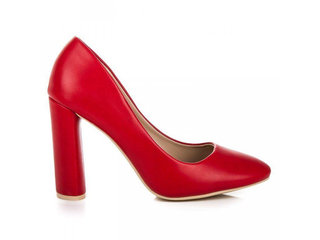 f70b21cd1822 Klasické červené lodičky na stĺpiku Ideal Shoes