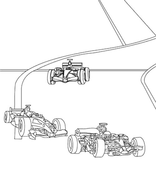 Track Race Car F1 Coloring Page