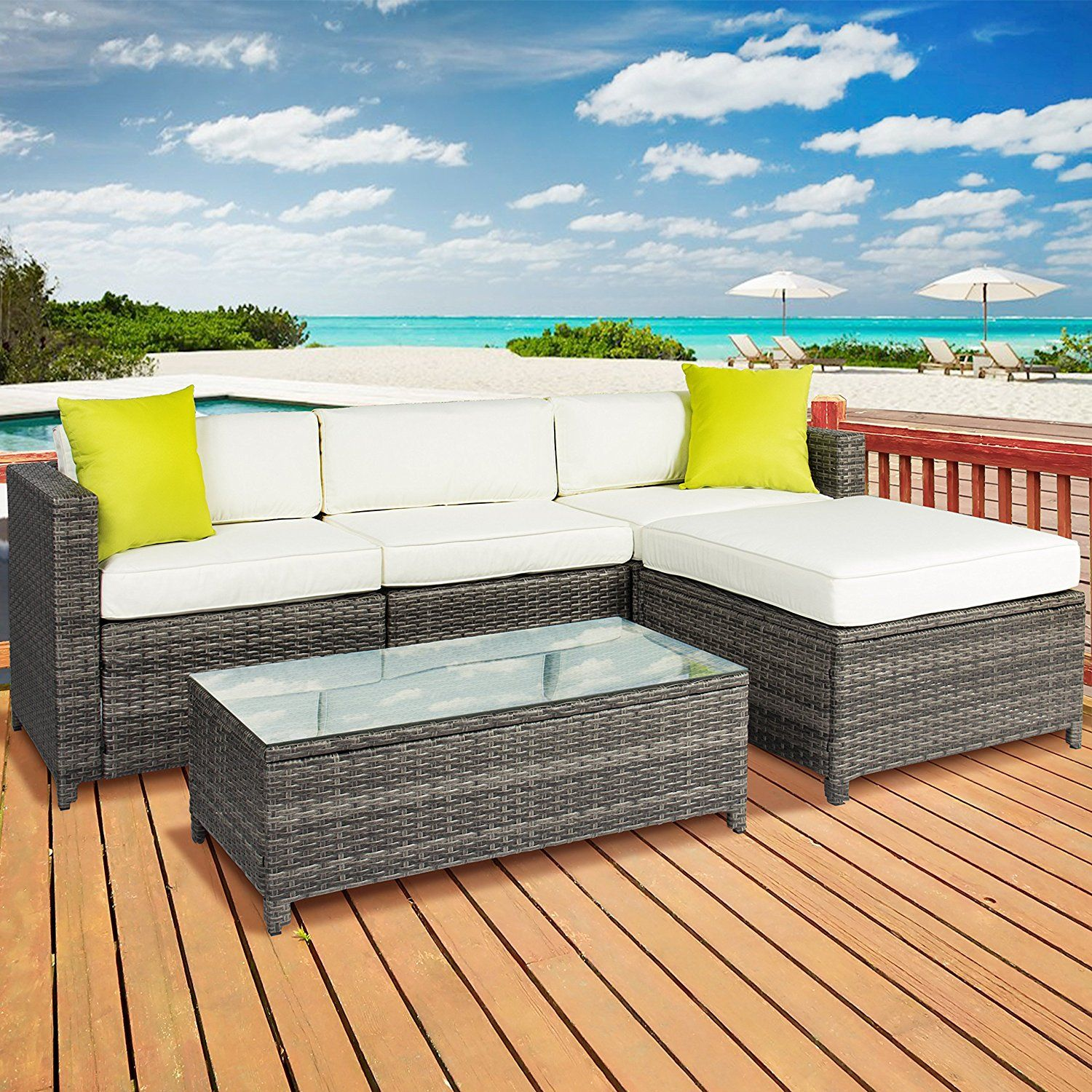 Amazon.com : Best Choice Products 5PC Rattan Wicker Sofa Set Cushioned  Sectional Outdoor Garden