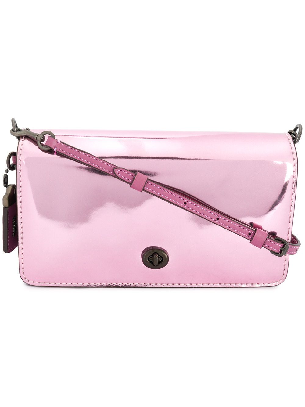 Dinky Crossbody Bag in Metallic Pink Calfskin Coach XoZ2Oi