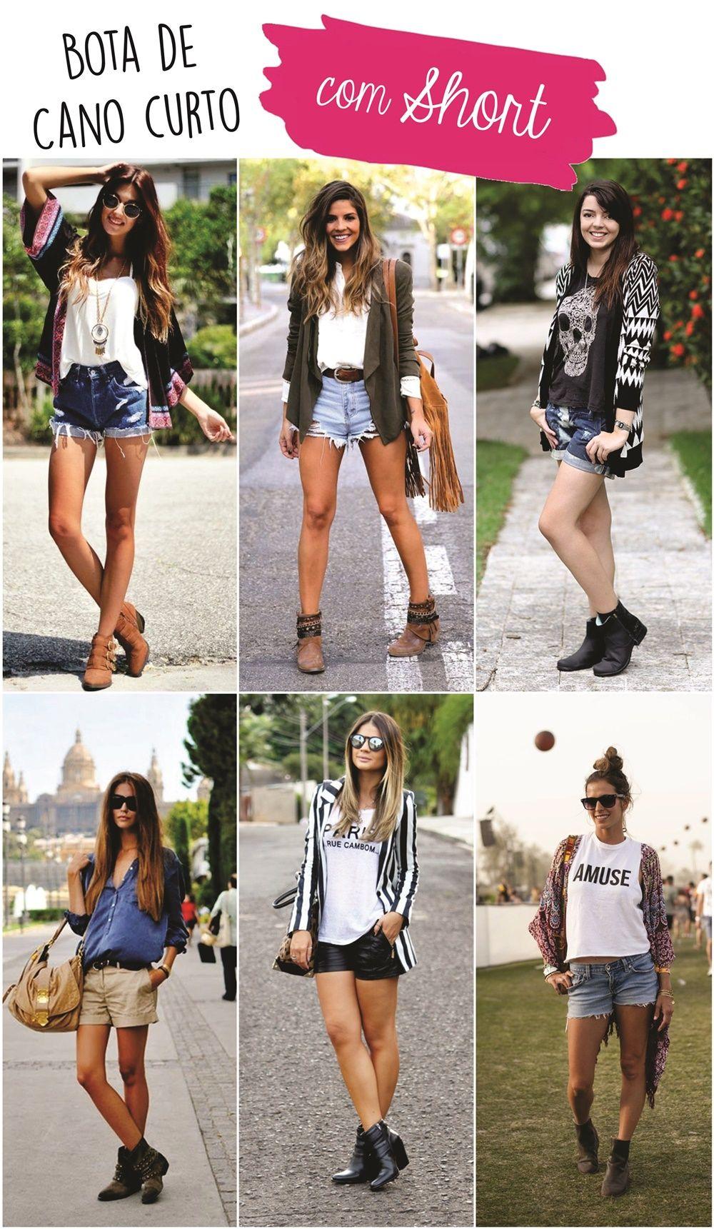 2eb5e412e Como usar bota de cano curto com short Looks Com Shortinho Jeans, Look Com  Shortinho