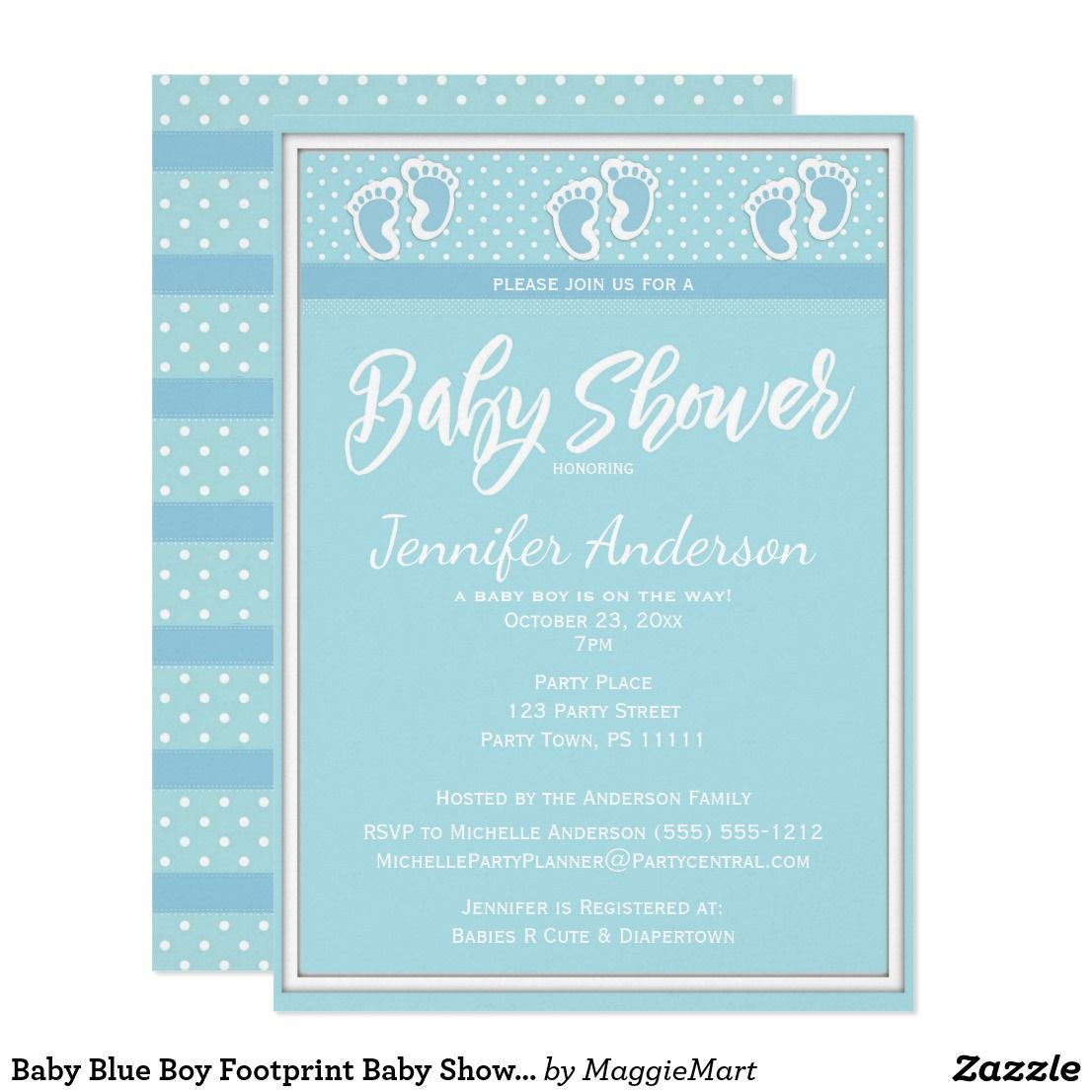 Baby blue boy footprint baby shower card this baby shower invitation baby blue boy footprint baby shower card this baby shower invitation is designed with a baby blue footprint pattern with coordinating polka dots on both the filmwisefo