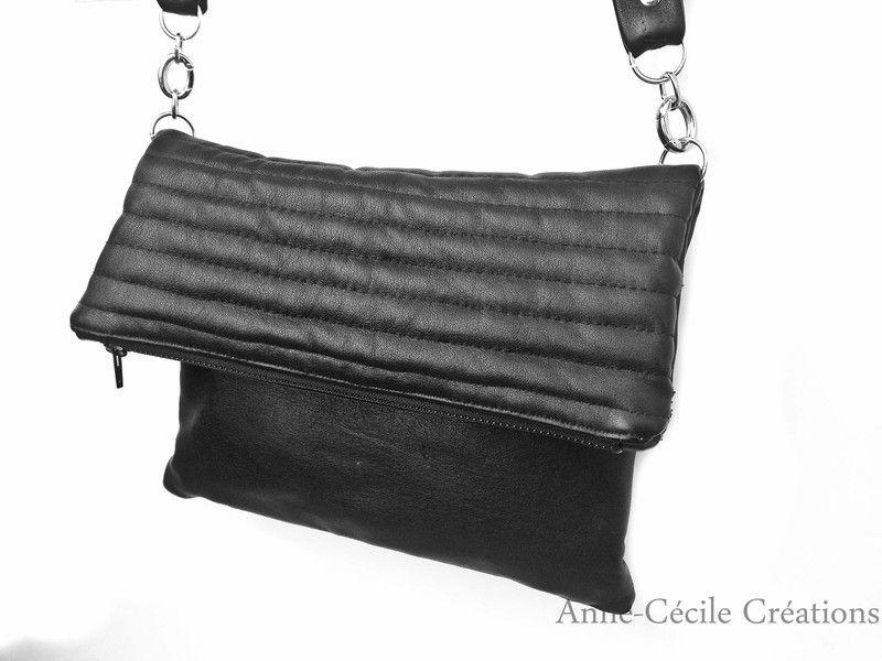 sac à main cuir noir matelassé 3 poches de AnneCecileCreation sur DaWanda.com