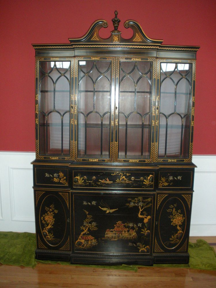 Chinoiserie Black Lacquer Breakfront Cabinet Bookcase With Secretary Desk