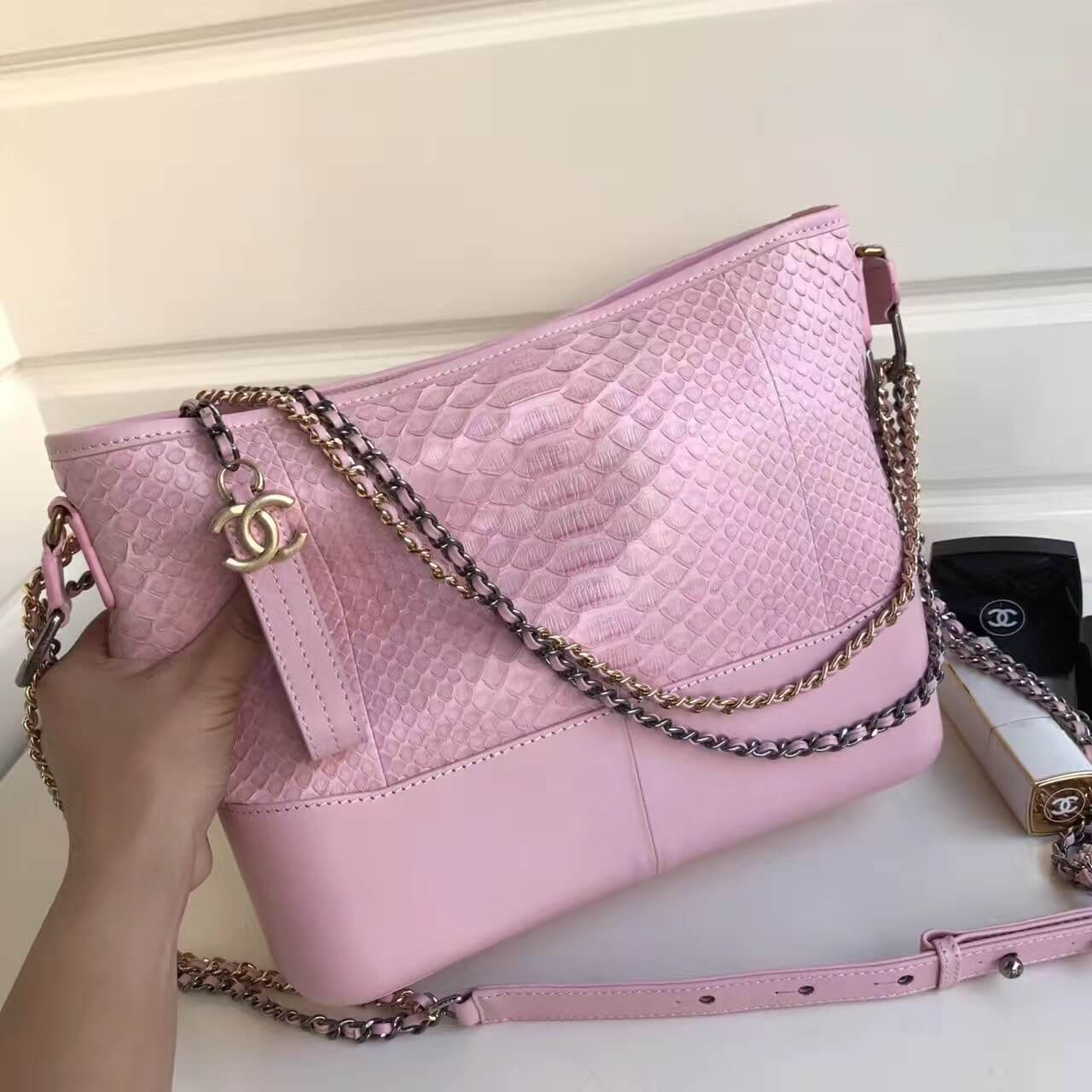 352c90eea049 Chanel Gabrielle Medium Hobo Bag in Python Leather   Calfskin A93824 Pink  2017