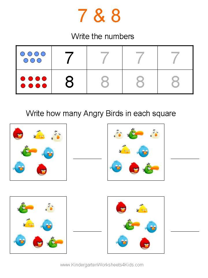 Printable Worksheets number 0 worksheets : Angry Birds <b>Math</b> <b>Worksheets</b> for <b>Kindergarten</b ...