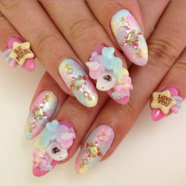 cute pastel nails!! | Kawaii ( >_< ) | Pinterest | Kawaii nails ...
